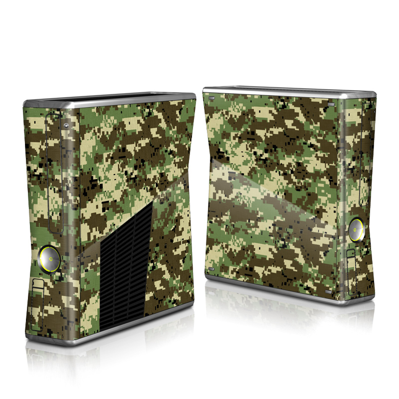 Xbox 360 S Skin design of Military camouflage, Pattern, Camouflage, Green, Uniform, Clothing, Design, Military uniform with black, gray, green colors