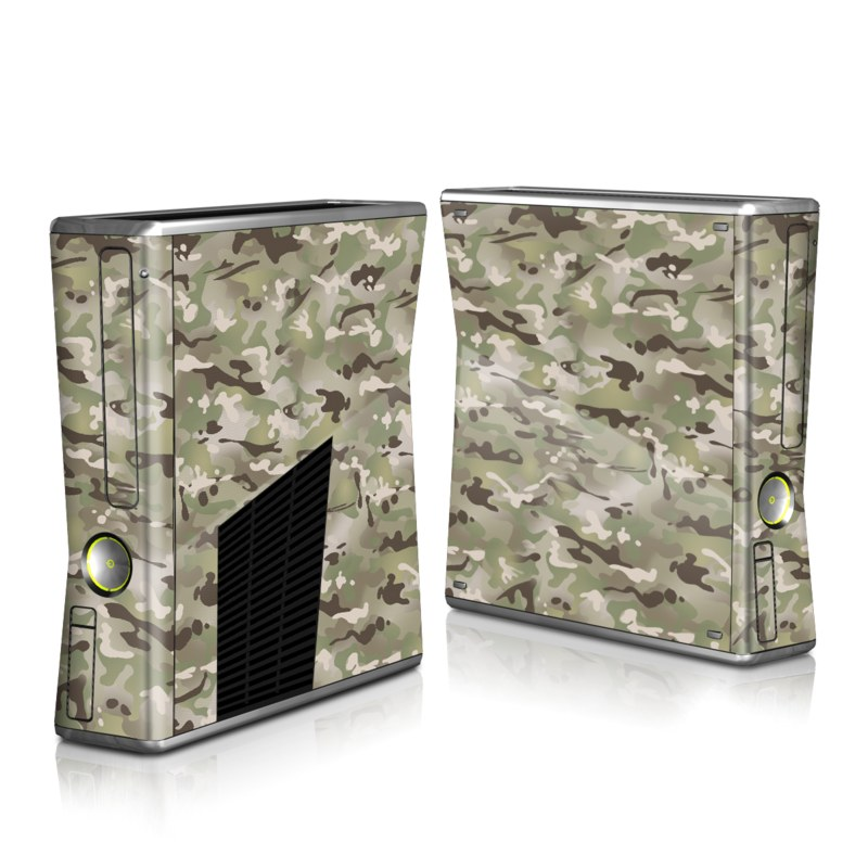 Xbox 360 S Skin design of Military camouflage, Camouflage, Pattern, Clothing, Uniform, Design, Military uniform, Bed sheet with gray, green, black, red colors
