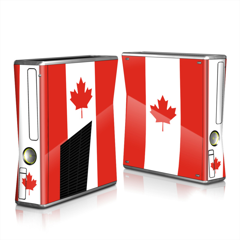 Xbox 360 S Skin design of Red, Maple leaf, Tree, Leaf, Woody plant, Flag, Plant, Plane, Red flag, Maple with red, white colors