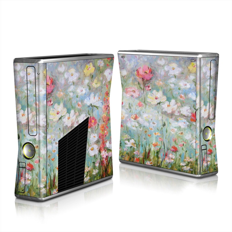 Xbox 360 S Skin design of Flower, Painting, Watercolor paint, Plant, Modern art, Wildflower, Botany, Meadow, Acrylic paint, Flowering plant with gray, black, green, red, blue colors