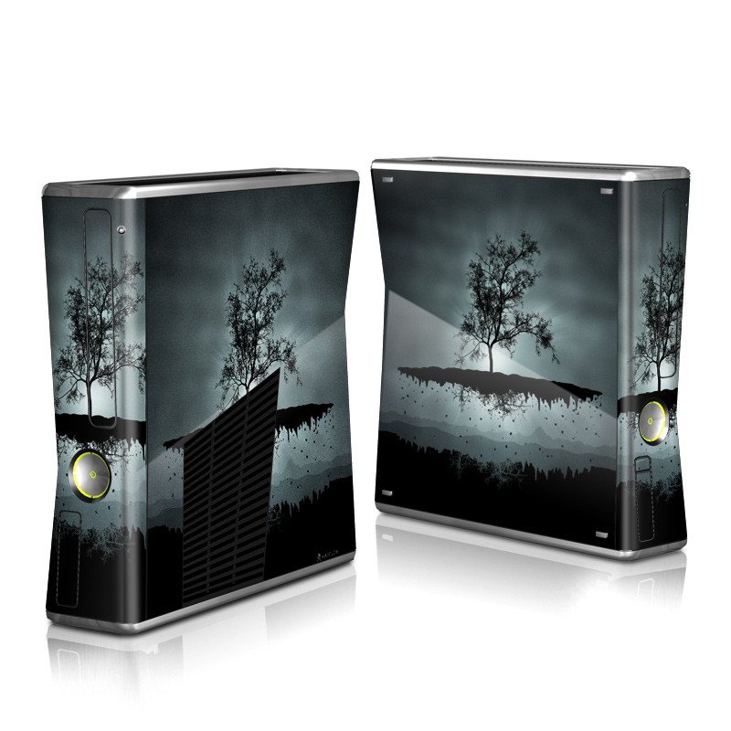 Xbox 360 S Skin design of Reflection, Sky, Nature, Water, Black, Tree, Black-and-white, Monochrome photography, Natural landscape, Atmospheric phenomenon with black, gray, blue colors
