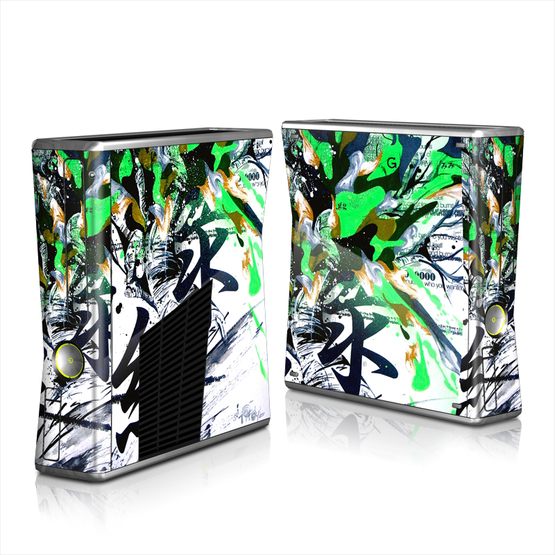 Xbox 360 S Skin design of Graphic design, Green, Illustration, Art, Tree, Modern art, Design, Graphics, Visual arts, Printmaking with black, gray, white, green, blue colors