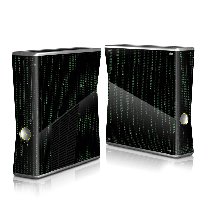 Xbox 360 S Skin design of Green, Black, Pattern, Symmetry with black colors