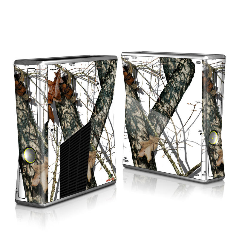 Xbox 360 S Skin design of Tree, Branch, Plant, Woody plant, Wildlife, Trunk, Adaptation with white, black, gray, green, red colors