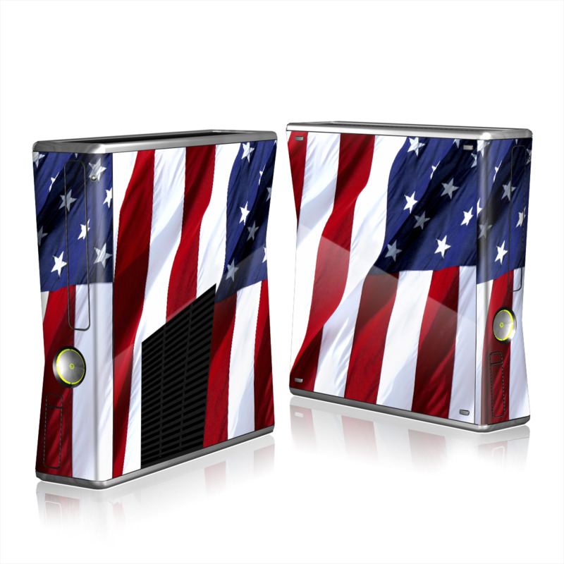 Xbox 360 S Skin design of Flag, Flag of the united states, Flag Day (USA), Veterans day, Memorial day, Holiday, Independence day, Event with red, blue, white colors