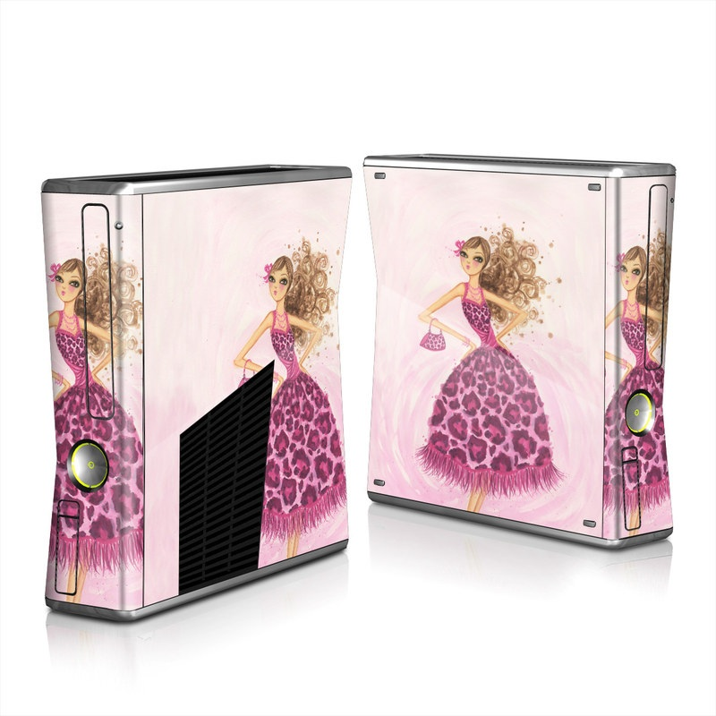 Xbox 360 S Skin design of Pink, Doll, Dress, Fashion illustration, Barbie, Fashion design, Illustration, Gown, Costume design, Toy with pink, gray, red, purple, green colors