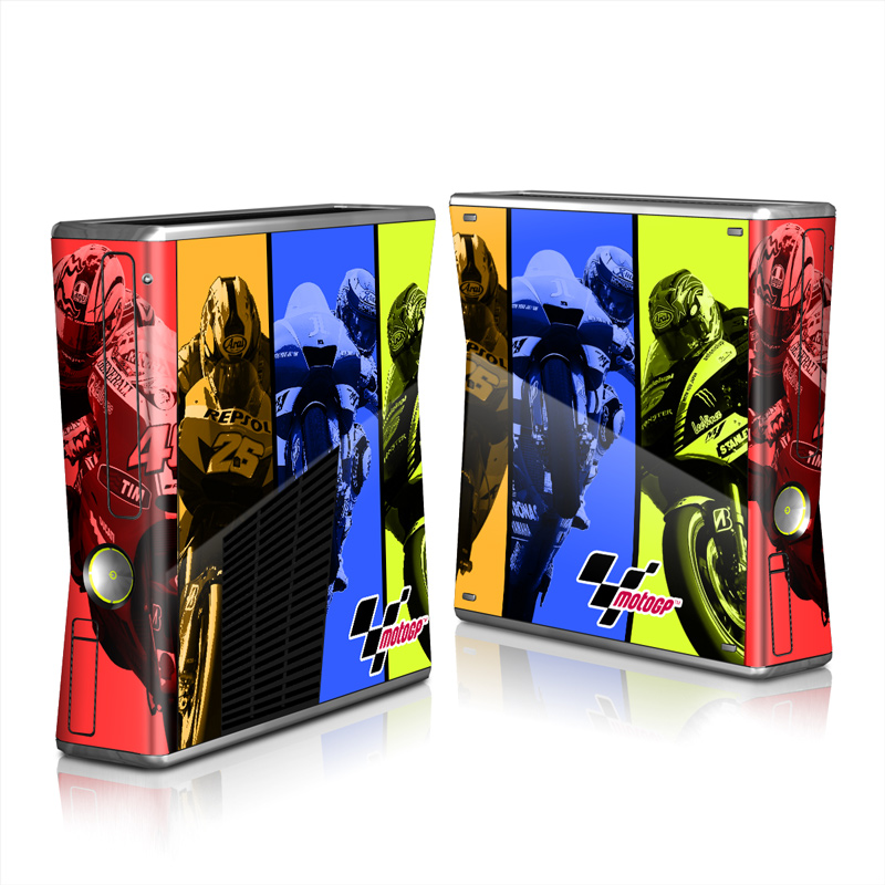 Xbox 360 S Skin design of Motorcycle racer, Motorcycle racing, Motocross, Vehicle, Yellow, Motorsport, Motorcycle, Motorcycling, Superbike racing, Racing with black, blue, red, green colors
