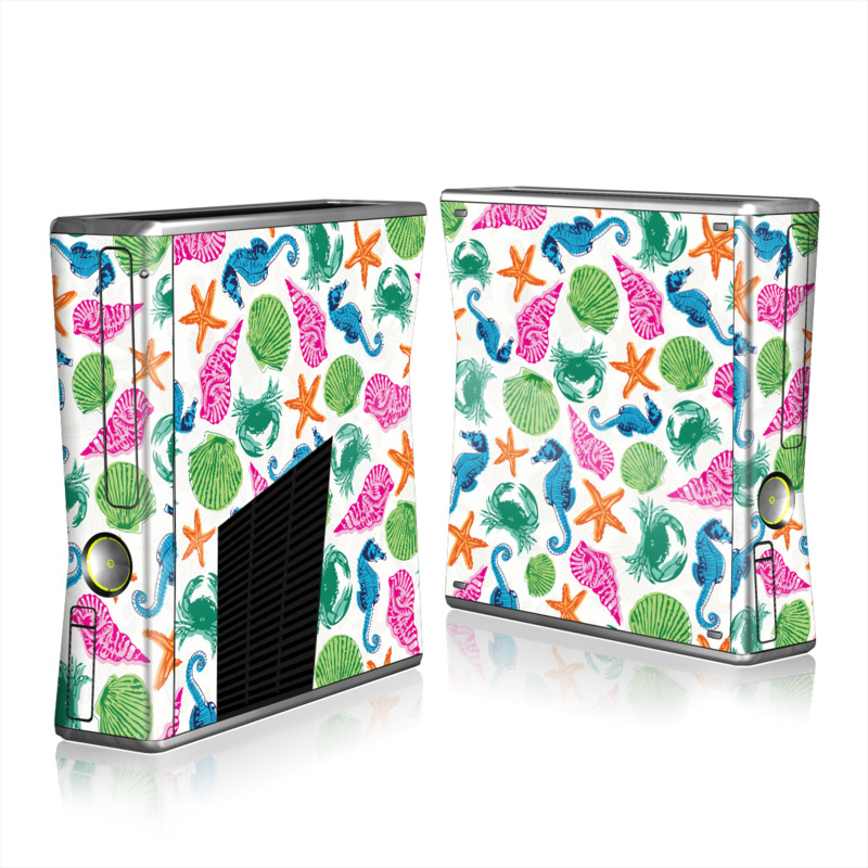 Xbox 360 S Skin design of Turquoise, Teal, Organism, Pattern, Design, Clip art, Graphics, Wrapping paper with white, gray, blue, green, purple colors