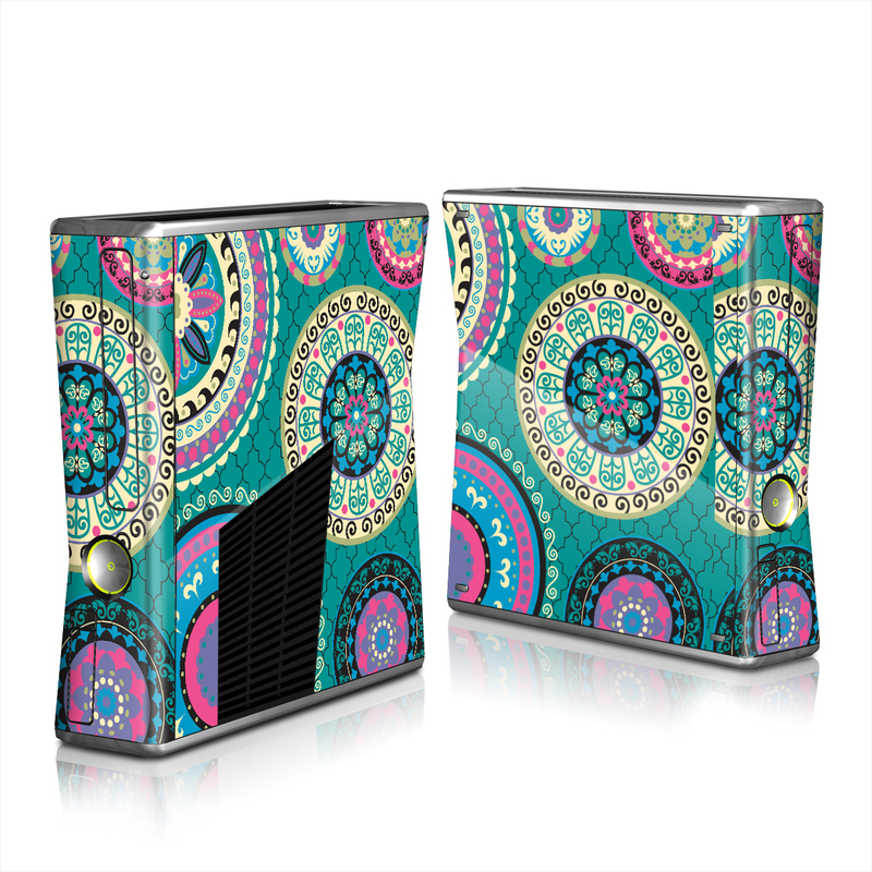 Xbox 360 S Skin design of Pattern, Turquoise, Teal, Circle, Visual arts, Design, Textile, Motif, Psychedelic art, Paisley with blue, gray, black, purple, pink colors