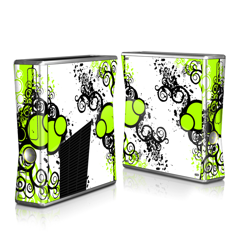 Xbox 360 S Skin design of Green, Circle, Graphic design, Leaf, Visual arts, Font, Design, Line, Pattern, Clip art with white, black, green, gray colors