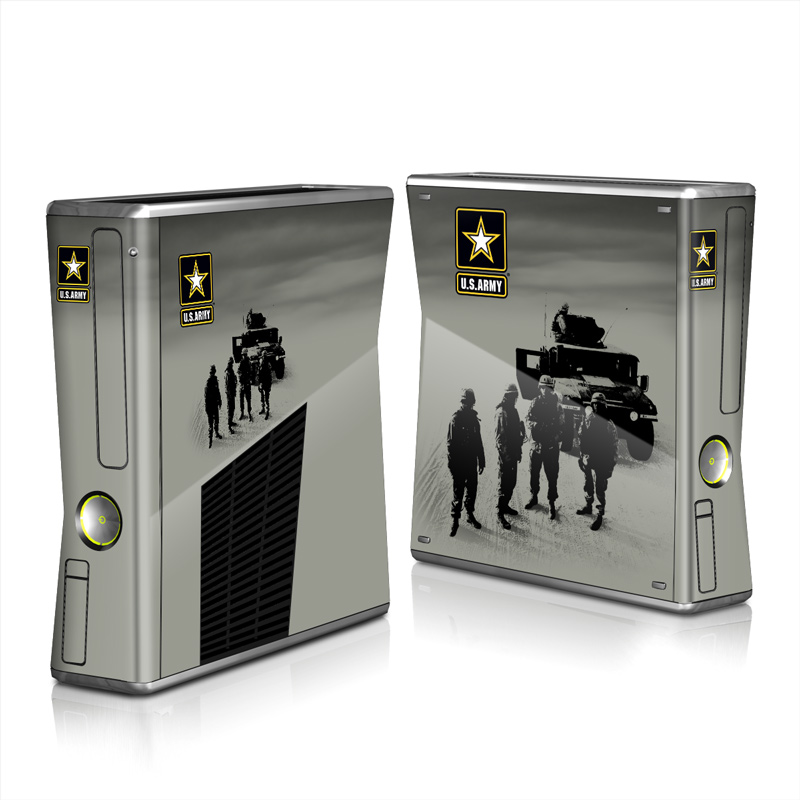 Xbox 360 S Skin design of Motor vehicle, Army, Soldier, Military organization, Armored car, Military, Troop, Vehicle, Infantry, Military vehicle with black, yellow, white, gray colors