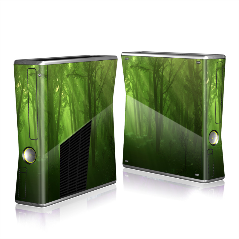 Xbox 360 S Skin design of Nature, Green, Forest, Old-growth forest, Woodland, Natural environment, Vegetation, Tree, Natural landscape, Atmospheric phenomenon with black, green colors