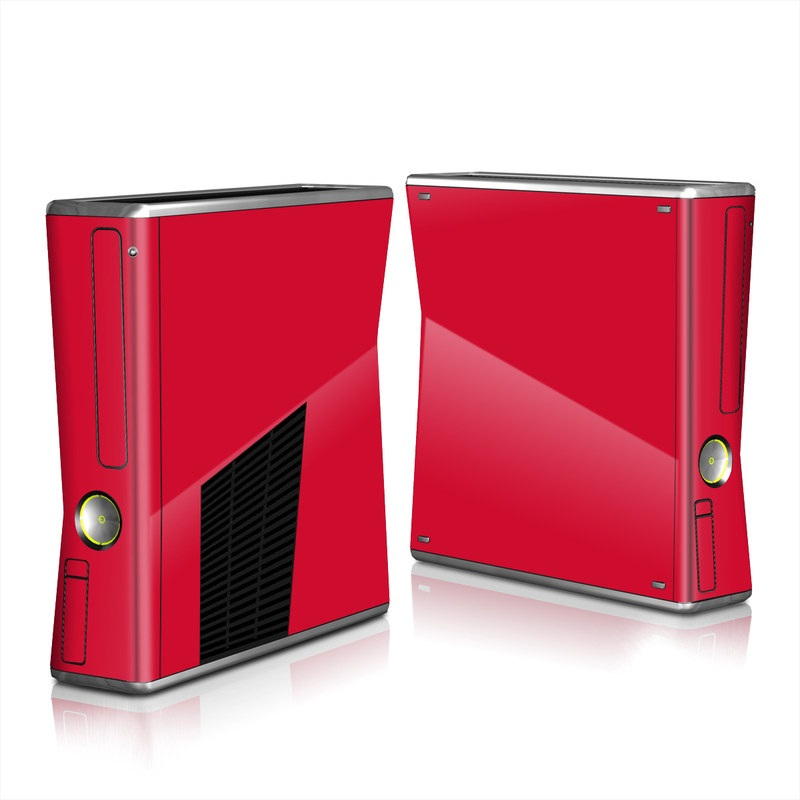 Xbox 360 S Skin design of Red, Pink, Maroon, Purple, Orange, Violet, Magenta, Material property, Font, Peach with red colors