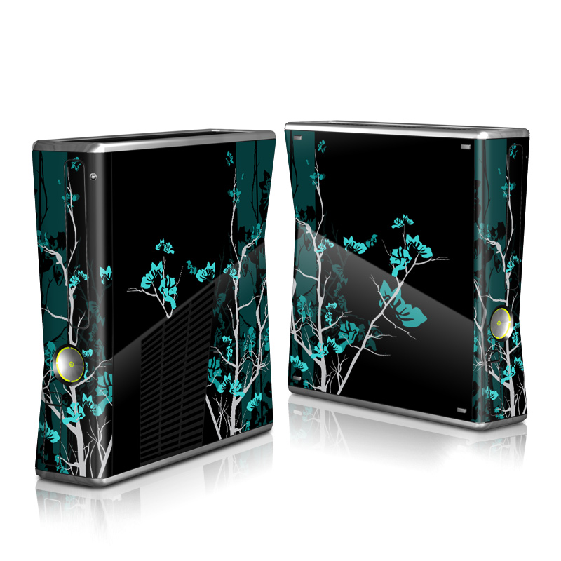 Xbox 360 S Skin design of Branch, Black, Blue, Green, Turquoise, Teal, Tree, Plant, Graphic design, Twig with black, blue, gray colors