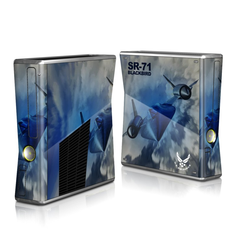Xbox 360 S Skin design of Airplane, Propeller, Aircraft, Sky, Vehicle, Aerospace engineering, Experimental aircraft, Military aircraft, Aviation with black, blue, gray colors
