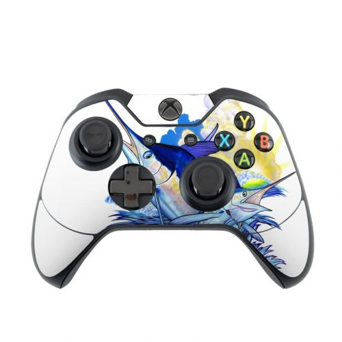 Blue White and Yellow Xbox One Controller Skin
