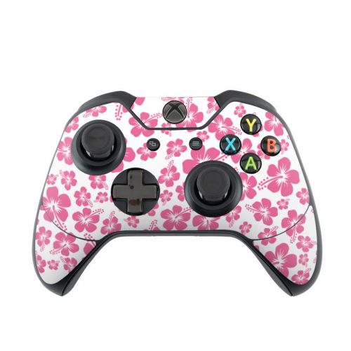 Pink Hibiscus Xbox One Controller Skin