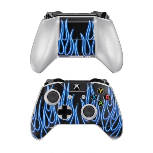 Blue Neon Flames Xbox One Controller Skin