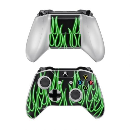 Green Neon Flames Xbox One Controller Skin