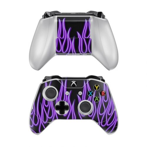 Purple Neon Flames Xbox One Controller Skin