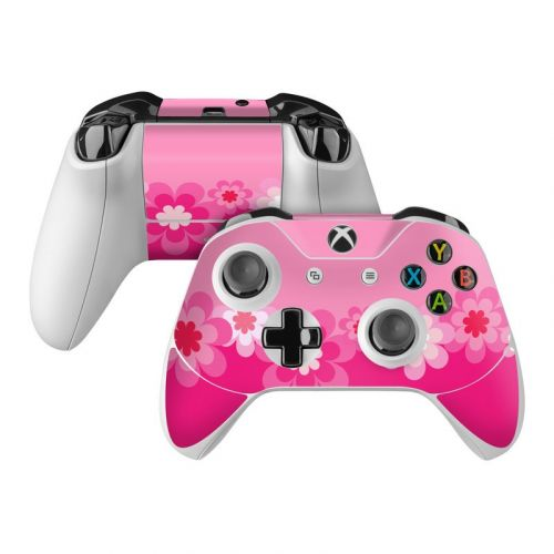 Retro Pink Flowers Microsoft Xbox One Controller Skin