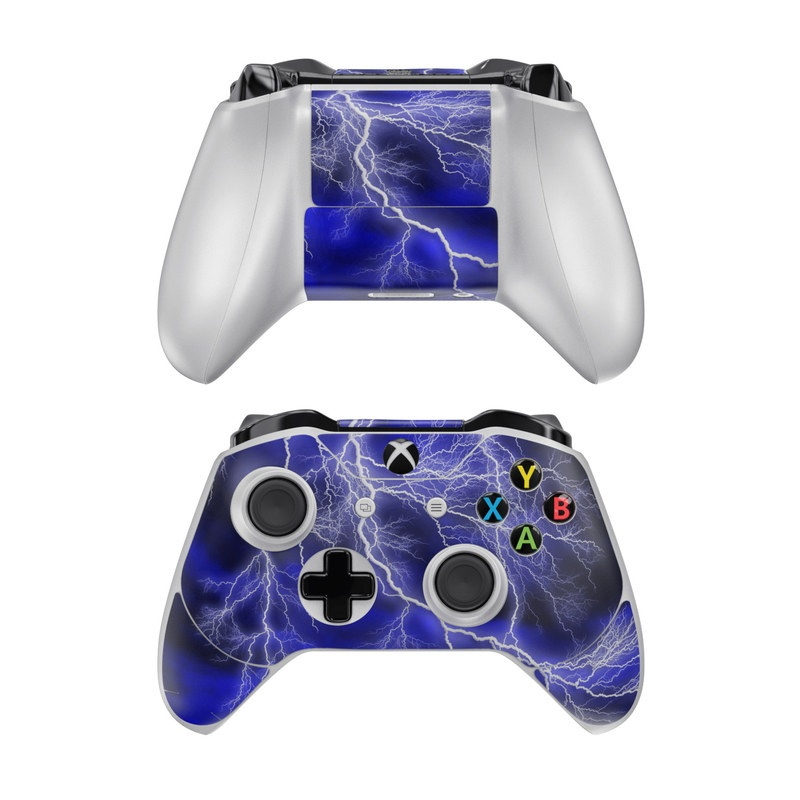 Xbox One Controller Skin design of Thunder, Lightning, Thunderstorm, Sky, Nature, Electric blue, Atmosphere, Daytime, Blue, Atmospheric phenomenon with blue, black, white colors