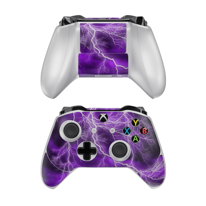 Xbox One Controller Skin design of Thunder, Lightning, Thunderstorm, Sky, Nature, Purple, Violet, Atmosphere, Storm, Electric blue with purple, black, white colors
