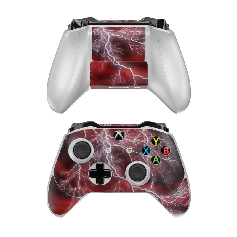 Xbox One Controller Skin design of Thunder, Thunderstorm, Lightning, Red, Nature, Sky, Atmosphere, Geological phenomenon, Lighting, Atmospheric phenomenon with red, black, white colors