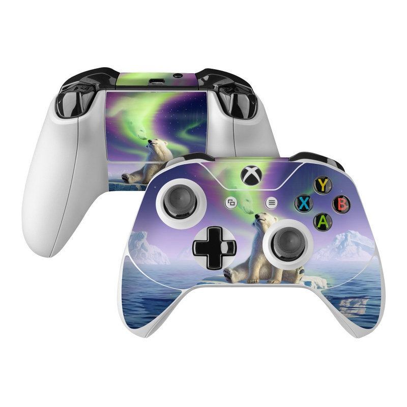 Xbox One Controller Skin design of Aurora, Sky, Wildlife, Polar bear, Fictional character with white, blue, green, purple colors