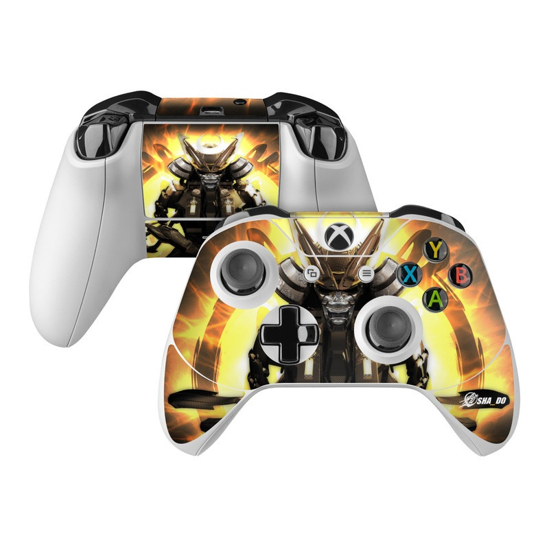 Xbox One Controller Skin design of Cg artwork, Graphic design, Fictional character, Mecha, Illustration, Darkness, Action figure, Samurai, Games, Graphics with black, yellow, orange, gray colors