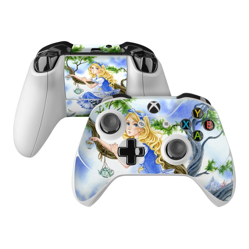 Xbox One Controller Skin design of Mythology, Illustration, Fictional character, Cg artwork, Art, Plant, Painting with blue, green, brown, gray, white colors