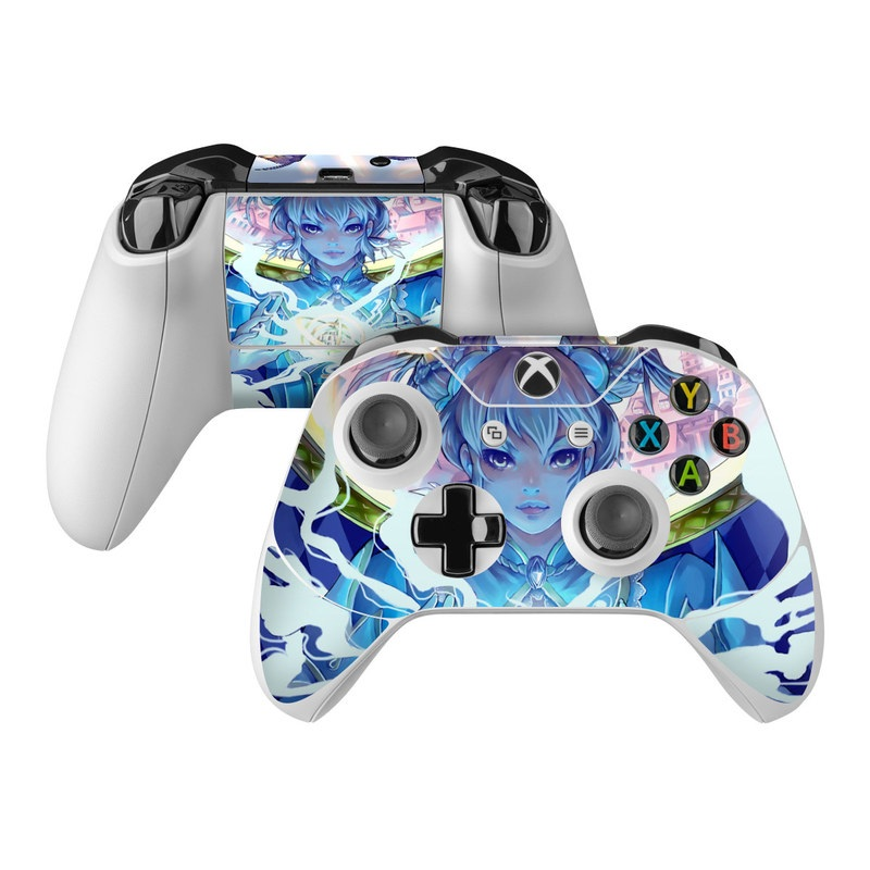 Xbox One Controller Skin design of Cg artwork, Anime, Cartoon, Sky, Long hair, Illustration, Fictional character, Black hair, Art with blue, purple, pink, white, yellow colors