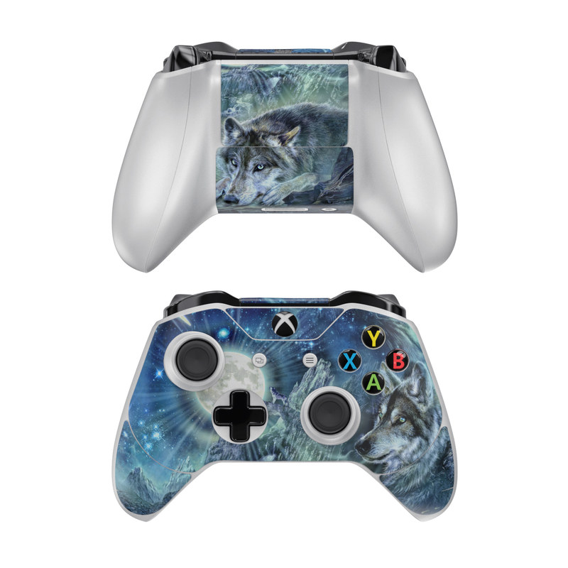 Xbox One Controller Skin design of Cg artwork, Fictional character, Darkness, Werewolf, Illustration, Wolf, Mythical creature, Graphic design, Dragon, Mythology with black, blue, gray, white colors