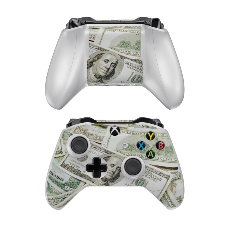 Xbox One Controller Skin design of Money, Cash, Currency, Banknote, Dollar, Saving, Money handling, Paper, Stock photography, Paper product with green, white, black, gray colors