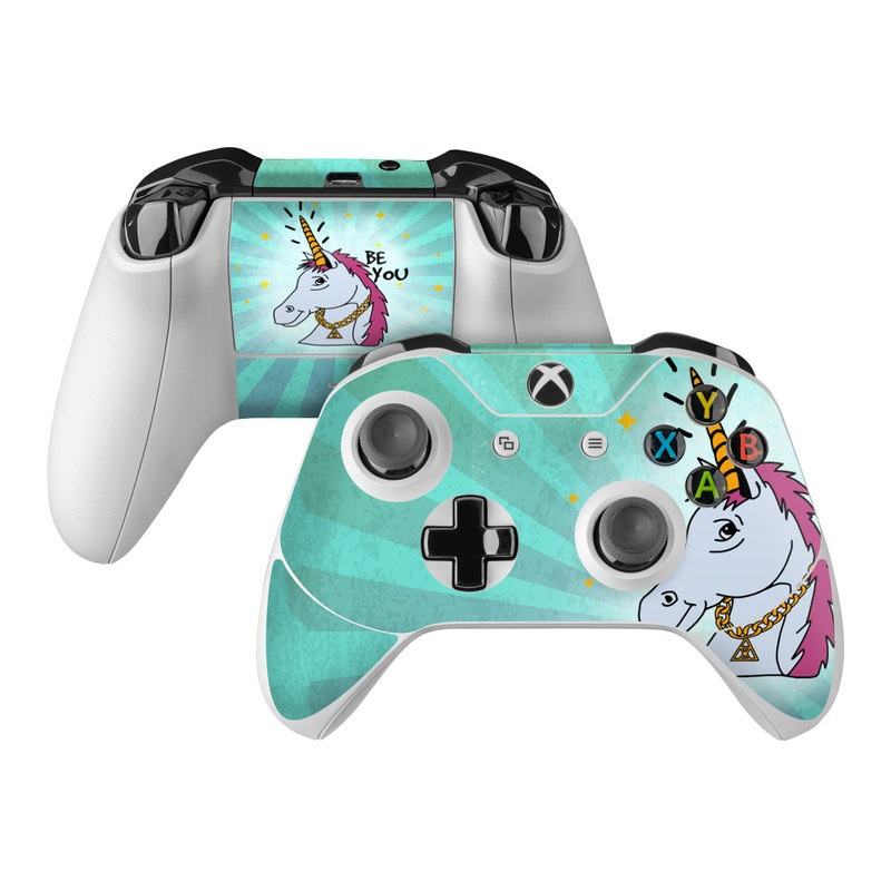 Xbox One Controller Skin design of Illustration, Unicorn, Cartoon, Fictional character, Graphic design, Art, Mythical creature, Livestock, Giraffe, Graphics with blue, white, pink, yellow colors