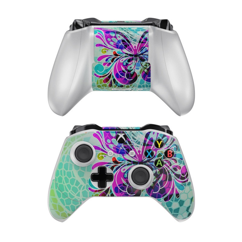 Xbox One Controller Skin design of Butterfly, Pattern, Insect, Moths and butterflies, Purple, Graphic design, Design, Pollinator, Visual arts, Magenta with blue, green, purple colors