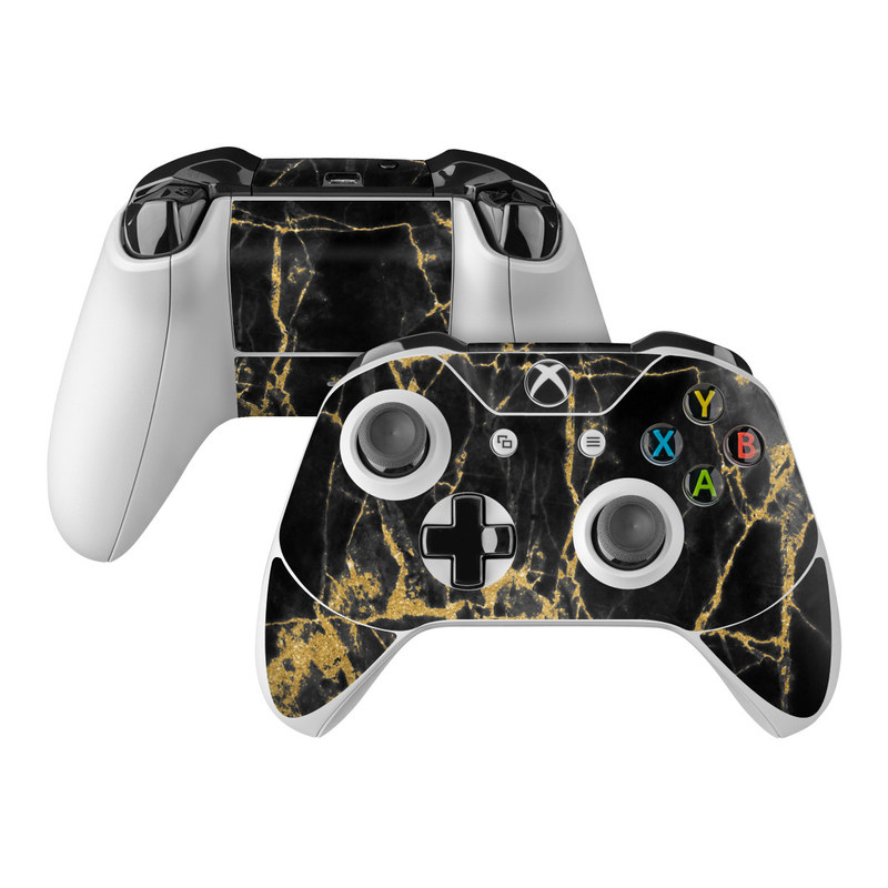 Xbox One Controller Skin design of Black, Yellow, Water, Brown, Branch, Leaf, Rock, Tree, Marble, Sky with black, yellow colors