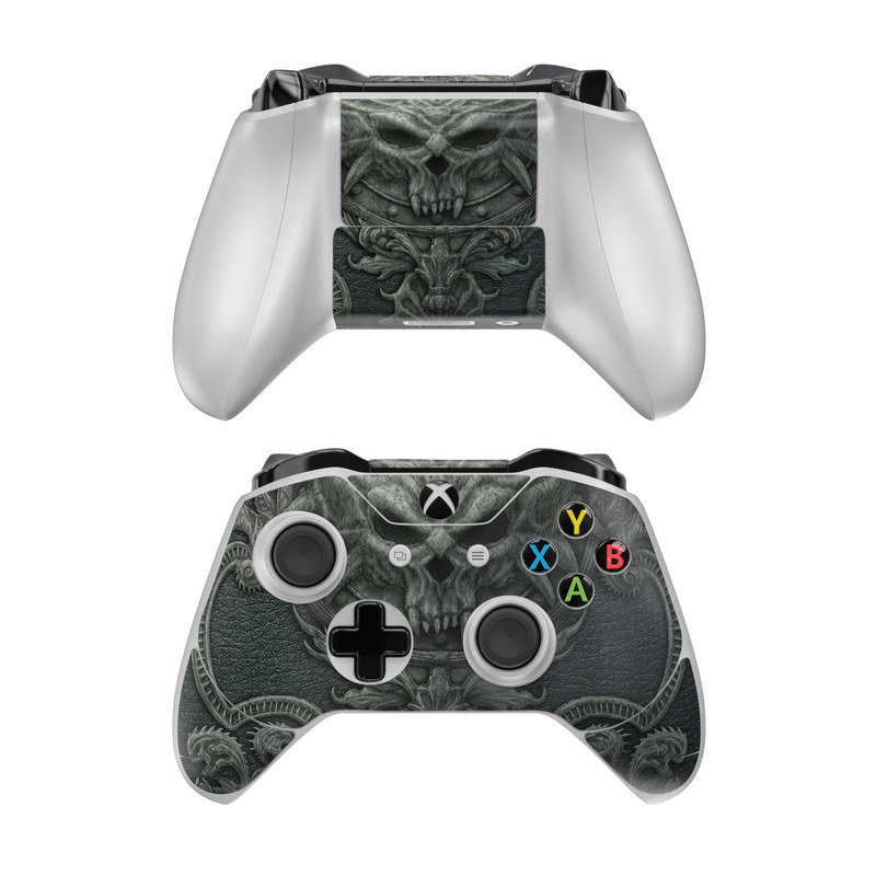 Xbox One Controller Skin design of Demon, Dragon, Fictional character, Illustration, Supernatural creature, Drawing, Symmetry, Art, Mythology, Mythical creature with black, gray colors