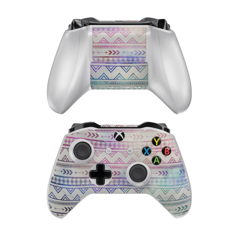 Xbox One Controller Skin design of Pattern, Line, Teal, Design, Textile with gray, pink, yellow, blue, black, purple colors