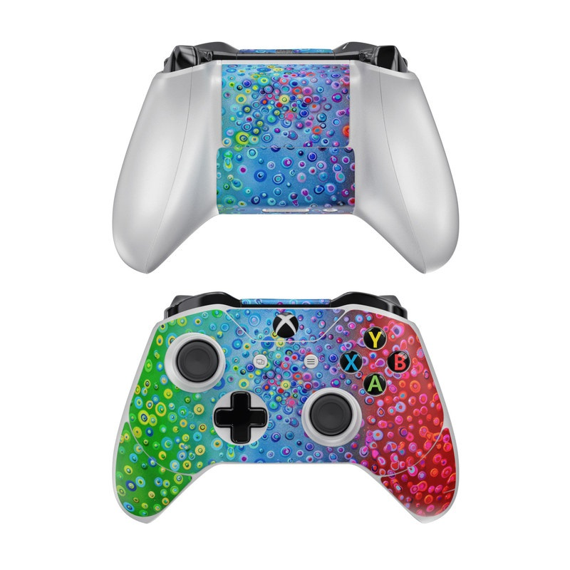 Xbox One Controller Skin design of Water, Blue, Colorfulness, Liquid bubble, Pattern, Drop, Circle with red, blue, green, yellow, purple colors