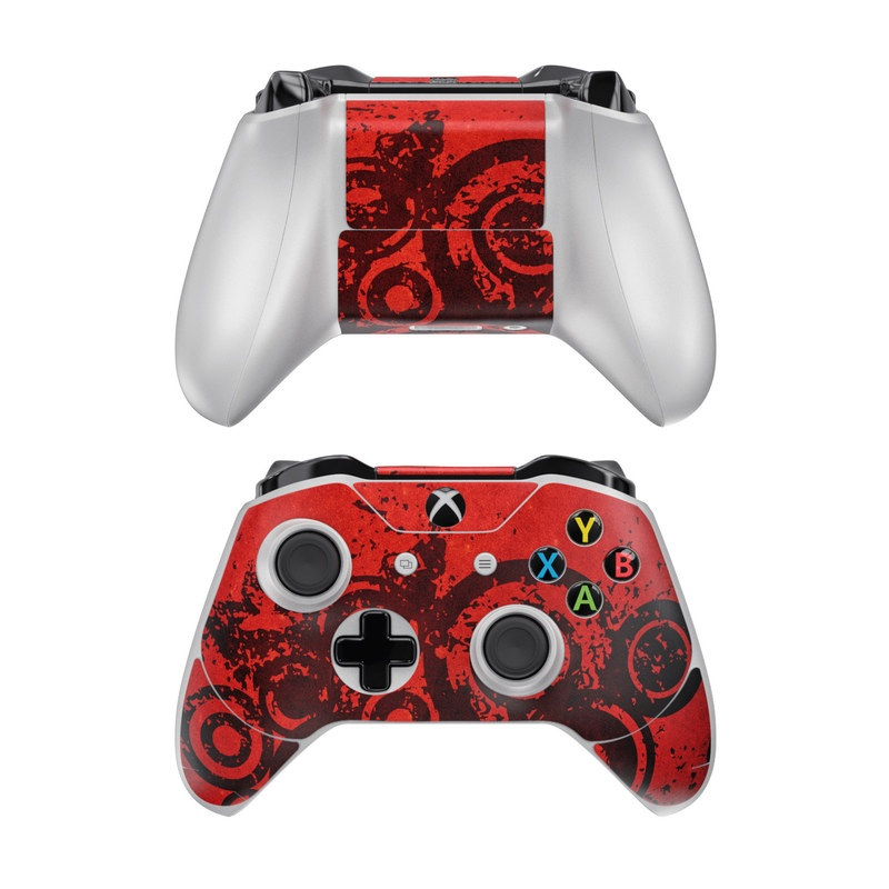 Xbox One Controller Skin design of Red, Circle, Pattern, Design, Visual arts, Font, Graphics, Graphic design, Art, Still life photography with red, black colors