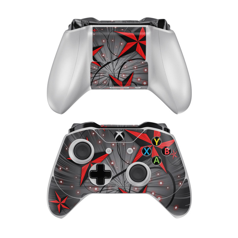 Xbox One Controller Skin design of Red, Star, Astronomical object, Sky, Pattern, Space, Illustration, Graphic design with black, red, white colors