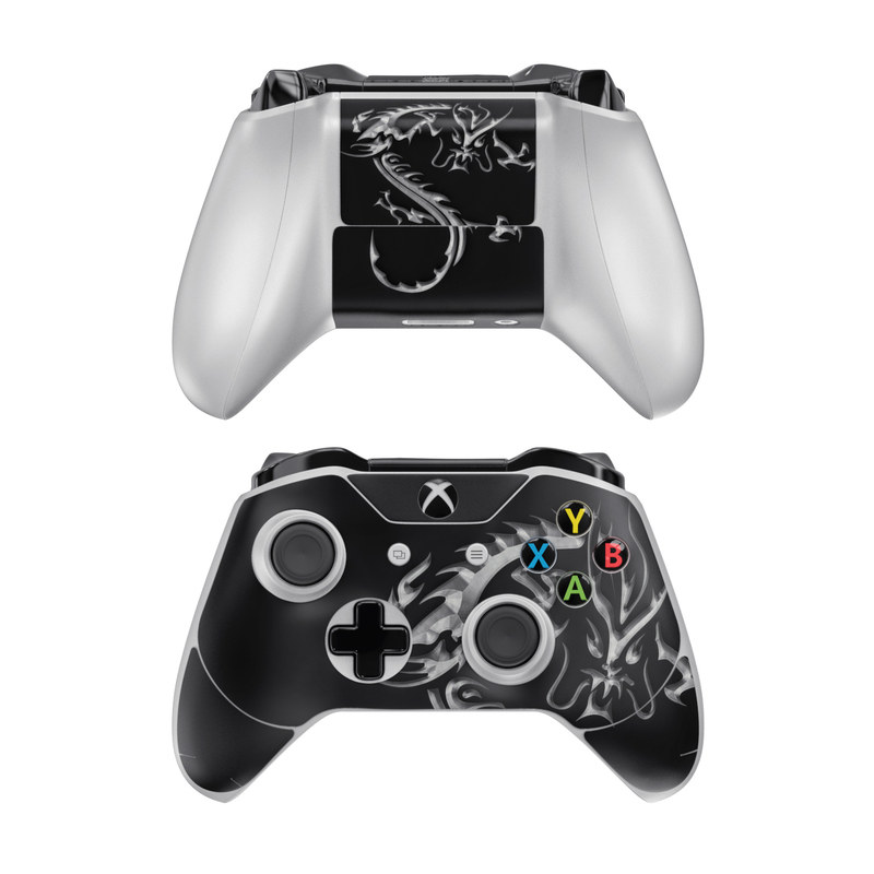 Xbox One Controller Skin design of Font, Logo, Graphic design, Black-and-white, Fictional character, Darkness, Dragon, Graphics, Illustration, Symbol with black, white colors