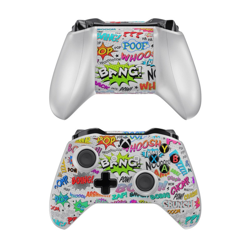 Xbox One Controller Skin design of Text, Font, Line, Graphics, Art, Graphic design with gray, white, red, blue, black colors