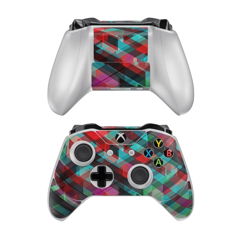 Xbox One Controller Skin design of Green, Pattern, Magenta, Purple, Orange, Line, Design, Textile, Plaid with black, red, green, blue, gray colors
