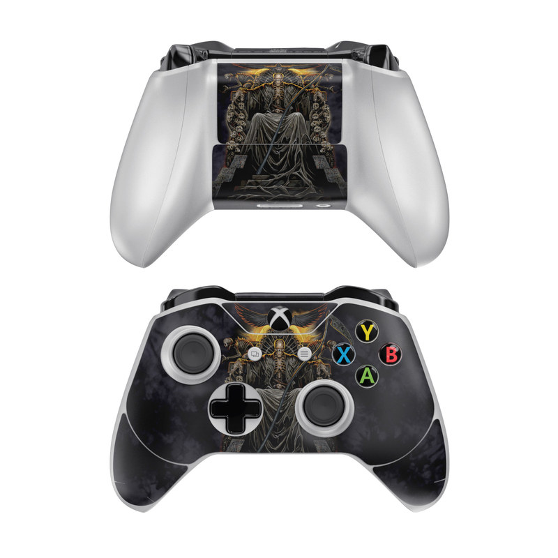 Xbox One Controller Skin design of Demon, Cg artwork, Darkness, Mythology, Supernatural creature, Fictional character, Art, Illustration with black, green, red colors