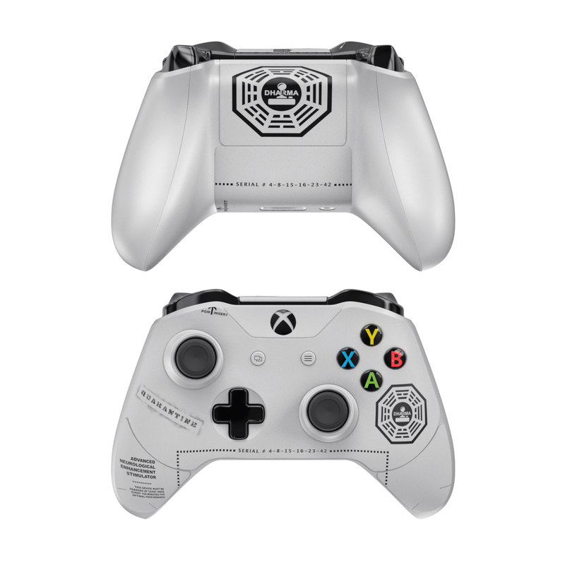 Xbox One Controller Skin design of Logo, Emblem, Font, Graphics, Symbol with white, black, gray colors