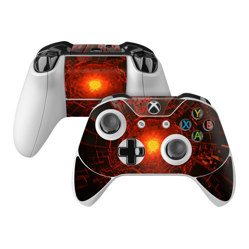 Xbox One Controller Skin design of Red, Fractal art, Light, Circle, Design, Art, Graphics, Symmetry, Pattern, Space with black, red colors