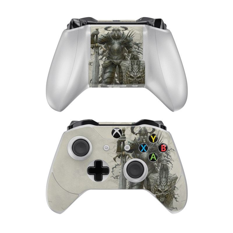 Xbox One Controller Skin design of Armour, Demon, Illustration, Warlord, Knight, Fictional character, Mythology, Cg artwork, Supernatural creature, Orc with gray, black, pink, yellow, green colors