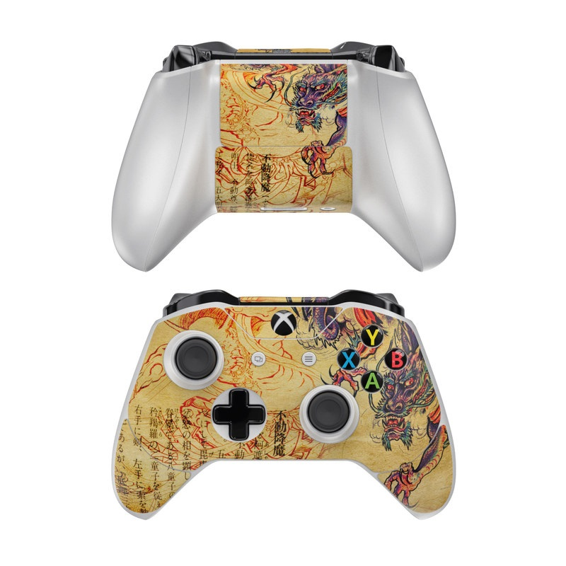 Xbox One Controller Skin design of Illustration, Fictional character, Art, Demon, Drawing, Visual arts, Dragon, Supernatural creature, Mythical creature, Mythology with black, green, red, gray, pink, orange colors